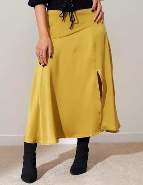 Black Satin Split Midi Skirt
