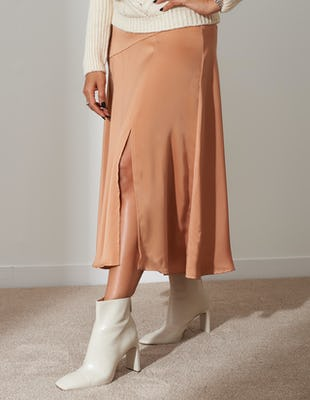 Nude Satin Split Midi Skirt