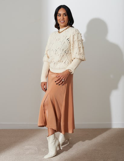 Nude Satin Split Midi Skirt