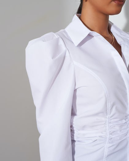 White Ruched Button Up Shirt