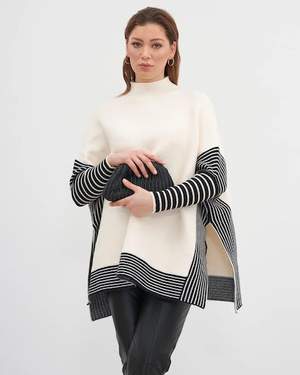 Cream Poncho Jumper with Stripes