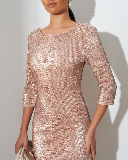 Blush Pink Sequin Dress