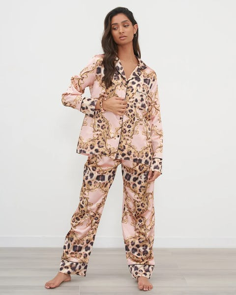 Pink Two Piece Leopard Chain Print Pyjama Set