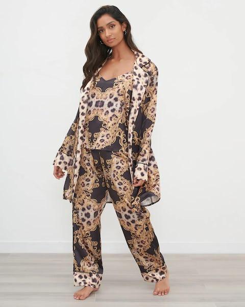 Three Piece Leopard Chain Print Pyjama Set