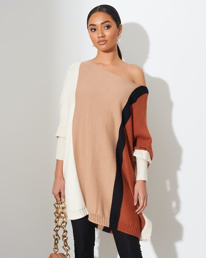 Neutral Colour Block Jumper Dress