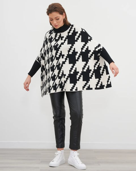 Camel and Black Houndstooth Poncho