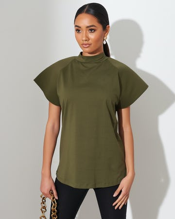 Olive Green Bell Sleeve T-Shirt