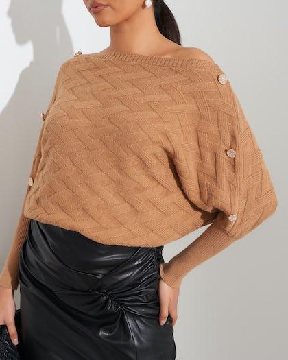 Camel Quilted Button Shoulder Jumper