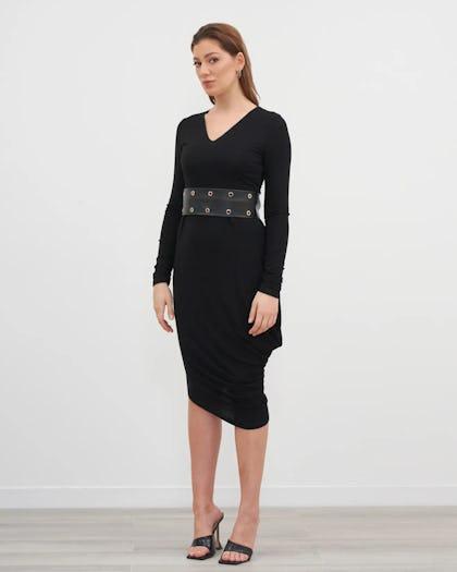 Black Stud Belt Midi Dress