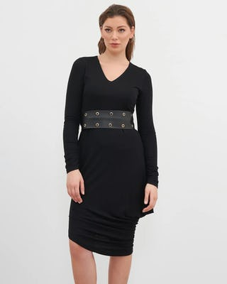 Black Stud Belt Midi Dress