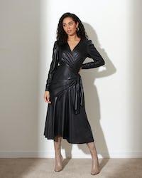Black Faux Leather Pleat Midi Dress
