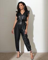 Tan Faux Leather Ruffle Detail Jumpsuit