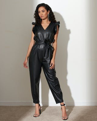 Black Faux Leather Frill Jumpsuit