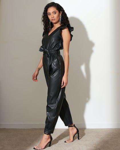 Black Faux Leather Frill Jumpsuit