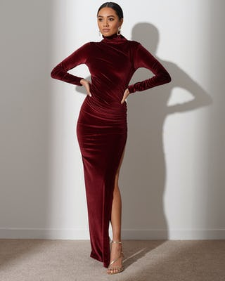 Mahogany Red Extreme Split Maxi Dress