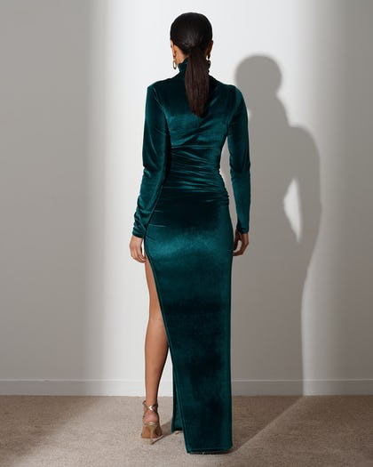 Forest Green  Extreme Split Maxi Dress
