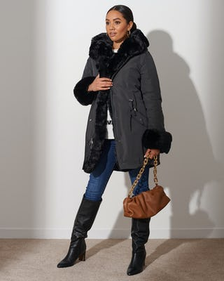 Dark Grey Faux Fur Lined Parka