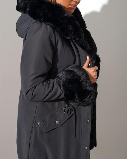 Dark Grey Faux Fur Lined Parka
