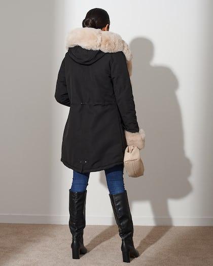 Black Faux Fur Lined Parka
