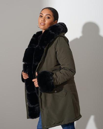 Khaki Faux Fur Lined Parka
