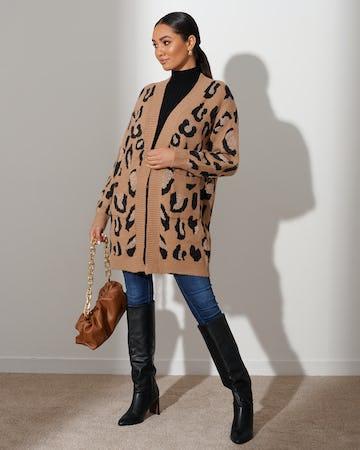 Camel Leopard Print Cardigan