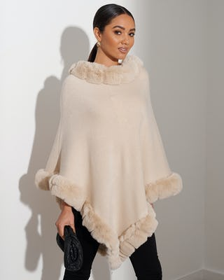 Beige Faux Fur Trimmed Cape