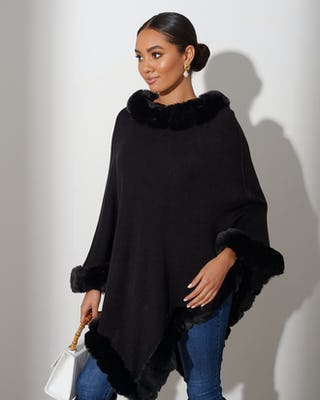 Black Faux Fur Trimmed Cape