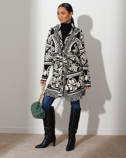Black and White Print Cardigan