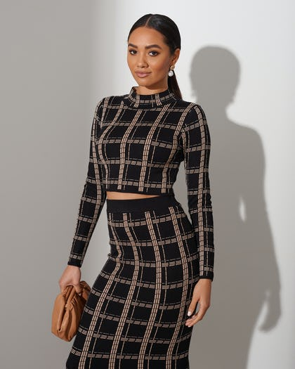Black & Beige Square Print Co-ord