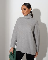 Grey Soft Knit Roll Neck Jumper