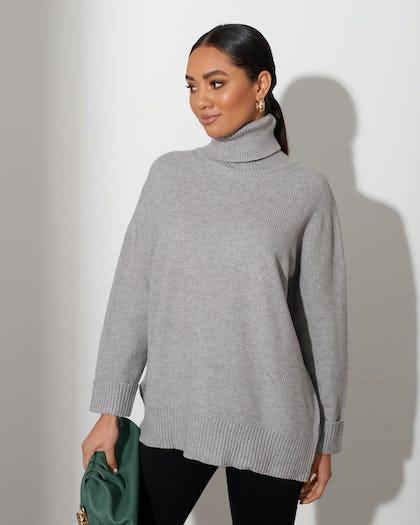 Grey Soft Knit Roll Neck Jumper