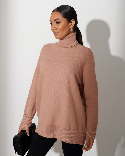 Nude Soft Knit Roll Neck Jumper