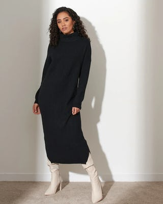 Black Soft Knit Jumper Dress