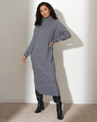 Grey Soft Knit Jumper Dress