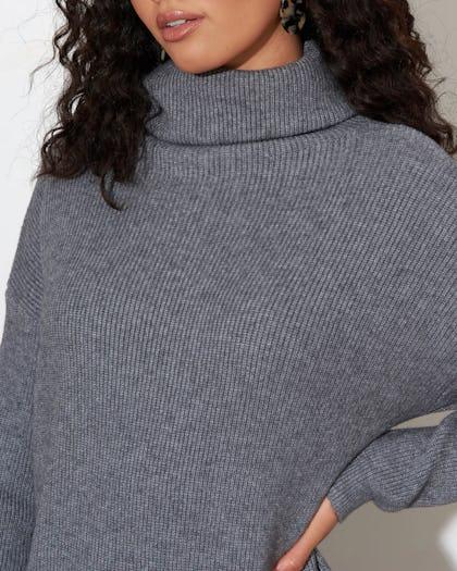 Grey Soft Knit Jumper Dress