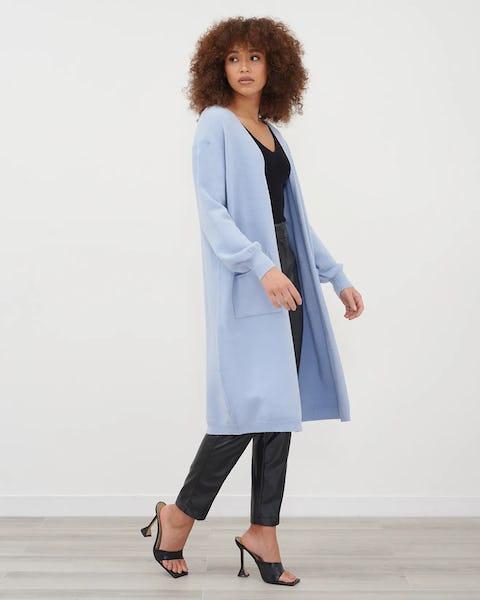 Blue Longline Soft Knit Cardigan