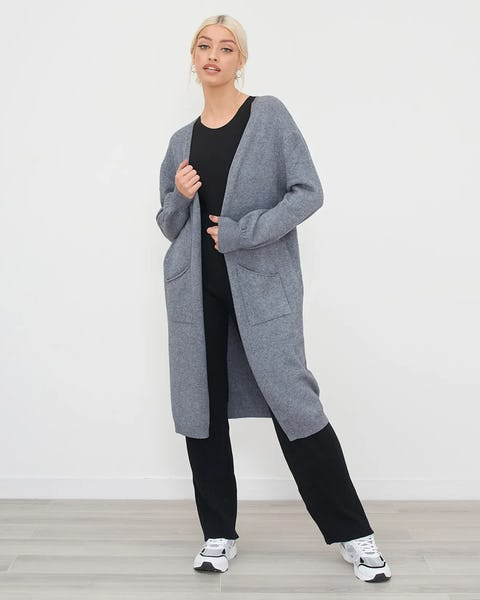Black Longline Soft Knit Cardigan