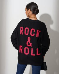 White and Black 'Rock & Roll' Slogan Jumper