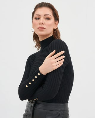 Black Roll Neck Sweater
