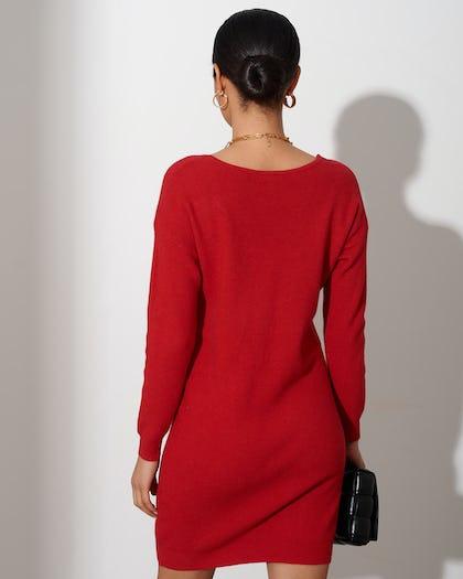 Red Soft Knit Jumper Dress