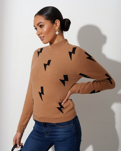Camel Lightning Bolt Jumper