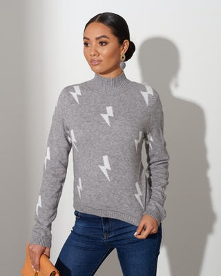 Grey Lightning Bolt Jumper