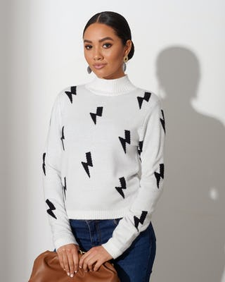 Ivory Lightning Bolt Jumper