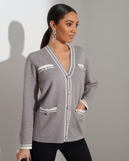 Grey Pearl Button Cardigan