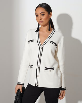 White Pearl Button Cardigan