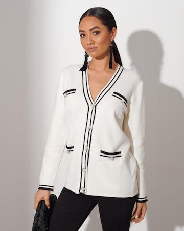 White Pearl Button Cardigan