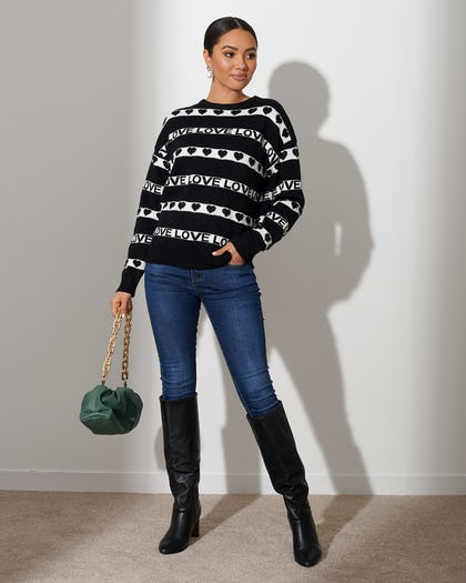 Black Love Stripe Sweater