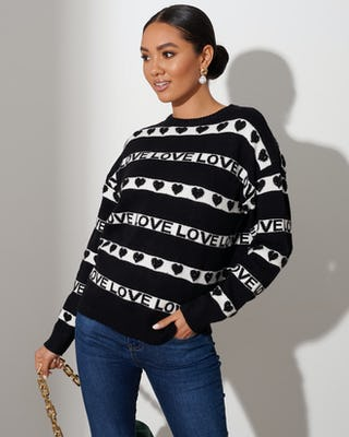 Black Love Stripe Sweater