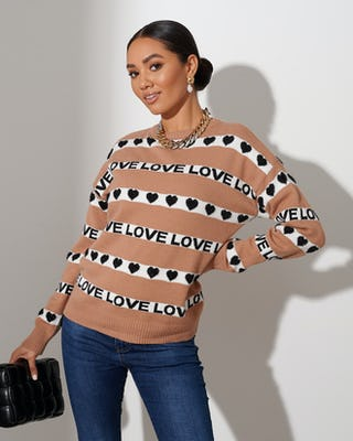 Camel Love Stripe Sweater