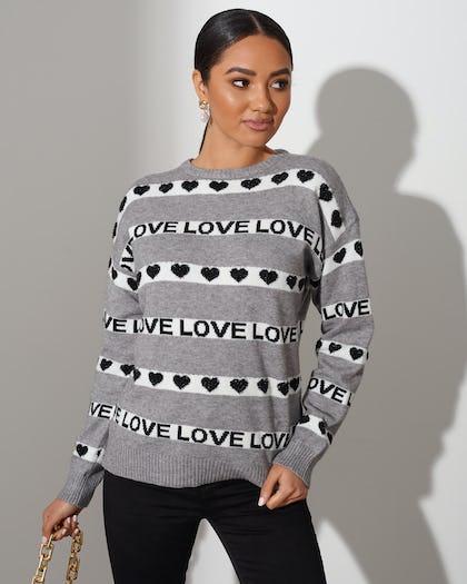 Grey Love Stripe Sweater